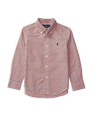 Ralph Lauren Childrenswear Boys Plaid Poplin ButtonDown Shirt  Sizes 27