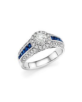 Bloomingdale's - Diamond and Blue Sapphire Engagement Ring in 14K White Gold - 100% Exclusive