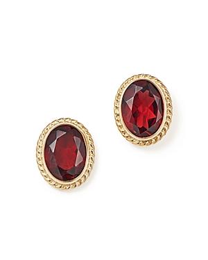Garnet Oval Bezel Stud Earrings in 14K Yellow Gold