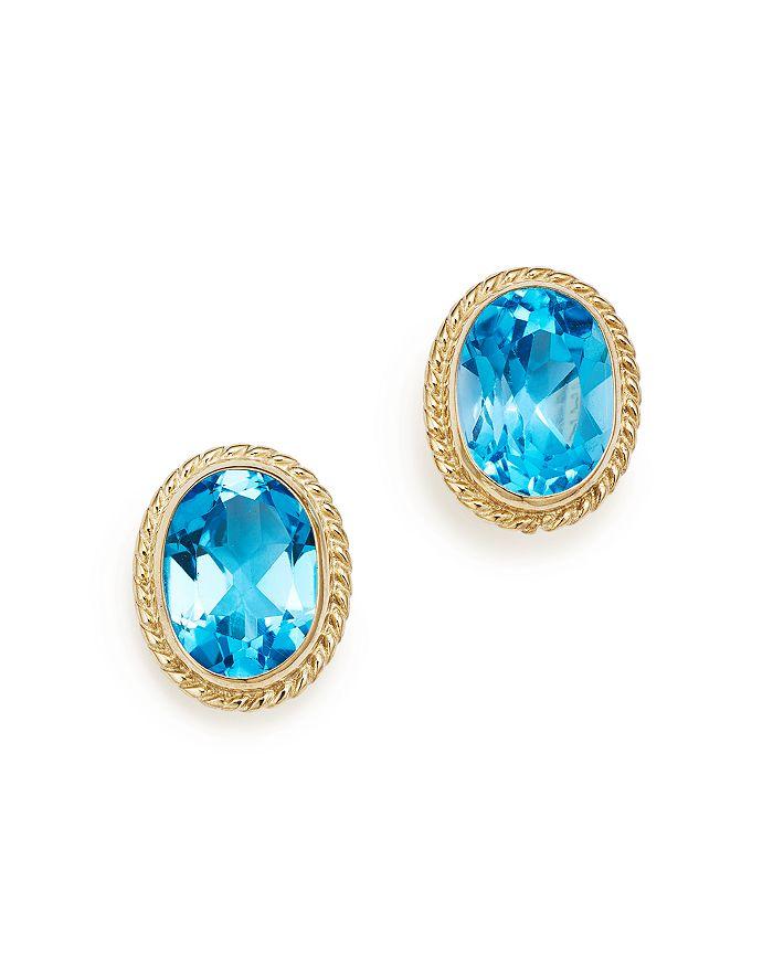 Bloomingdale's - Blue Topaz Oval Bezel Stud Earrings in 14K Yellow Gold- 100% Exclusive