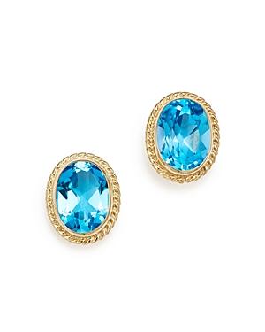 Blue Topaz Oval Bezel Stud Earrings in 14K Yellow Gold