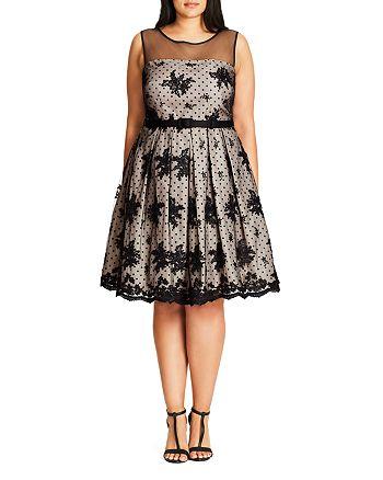 City Chic Plus - Ava Floral Dot Mesh Dress