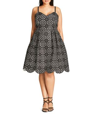 City Chic Laser-Cut Geo Print Dress