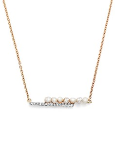 """MATEO - 14K Yellow Gold Cultured Freshwater Pearl and Diamond Bypass Bar Necklace, 15"""""""