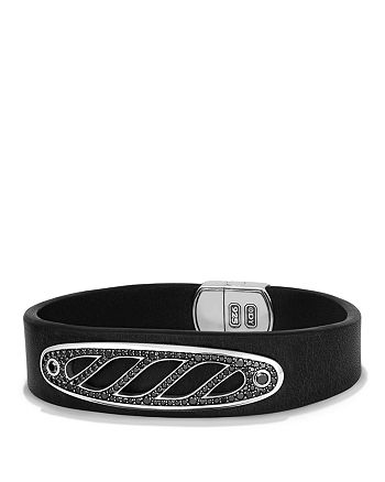 David Yurman - Graphic Cable Leather ID Bracelet in Black with Black Diamonds