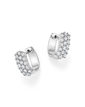 Diamond Huggie Hoop Earrings in 14K White Gold, 1.0 ct. t.w. - 100% Exclusive