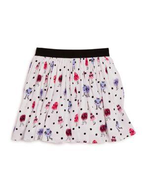 kate spade new york Girls' Monster Print Pebble Crepe Skirt - Little Kid