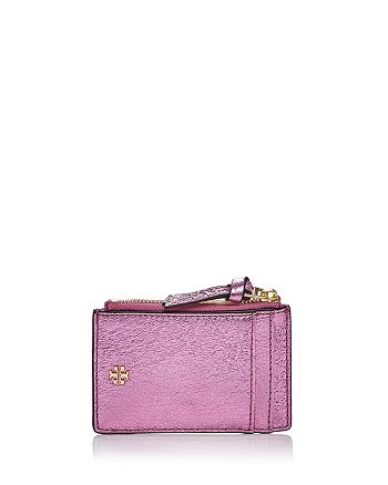 b055a659196a Tory Burch - Crinkle Metallic Leather Zip Card Case