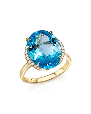 Blue Topaz Oval Ring with Diamonds in 14K Yellow Gold - 100% Exclusive
