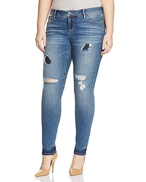 Slink Jeans Clean-Hem Distressed Skinny Jeans in Medium Blue