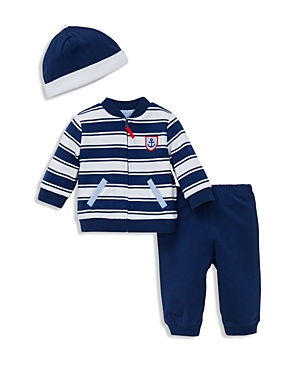 Little Me Infant Boys Three Piece French Terry Jacket Jog Pants  Hat Set  Sizes 312 Months