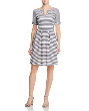 Three Dots Multi Stripe Pleated Dress 2420739