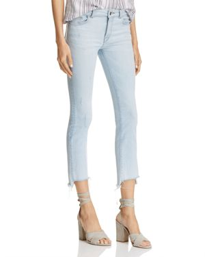 DL1961 Instasculpt Ankle Straight Step-Hem Jeans in White Hot - 100% Exclusive