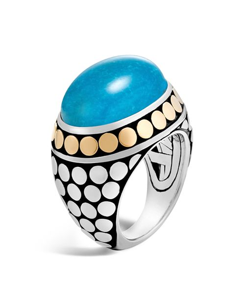 John Hardy - Sterling Silver and 18K Bonded Gold Dot Dome Ring with Turquoise