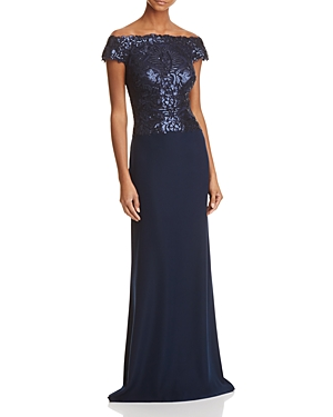 Tadashi Shoji Off-the-Shoulder Sequin Top Gown