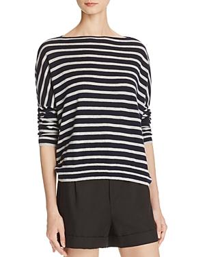 Vince Cashmere Skinny Stripe Boat Neck Sweater