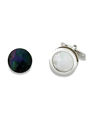 Lanvin Interchangeable Grey and Mother-of-Pearl Cufflinks
