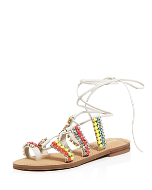 Ivanka Trump Monday Embellished Lace Up Sandals