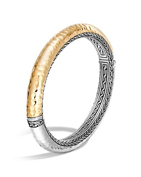 JOHN HARDY - Sterling Silver and 18K Bonded Gold Classic Chain Hammered Oval Hinged Bangle