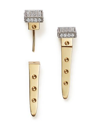 Roberto Coin - 18K White and Yellow Gold Pois Moi Chiodo Front-Back Earrings with Diamonds - 100% Exclusive