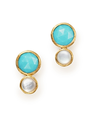 Marco Bicego 18K Yellow Gold Jaipiur Turquoise and Mother-Of-Pearl Climber Stud Earrings - 100% Exclusive
