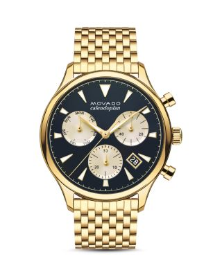 Heritage Calendoplan Goldtone Stainless Steel Bracelet Watch, Gold/ Blue