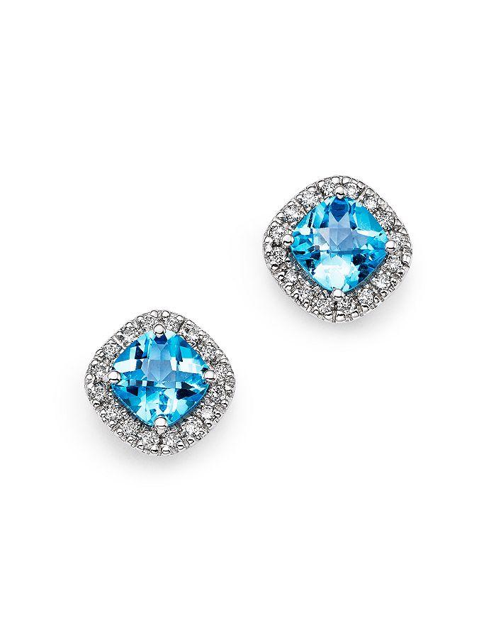 685fd84c9 Bloomingdale's - Blue Topaz Cushion and Diamond Stud Earrings in 14K White  Gold- 100