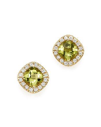 Bloomingdale's - Peridot Cushion and Diamond Stud Earrings in 14K Yellow Gold- 100% Exclusive