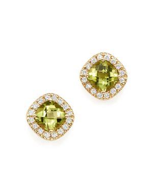 Peridot Cushion Cut and Diamond Stud Earrings in 14K Yellow Gold - 100% Exclusive