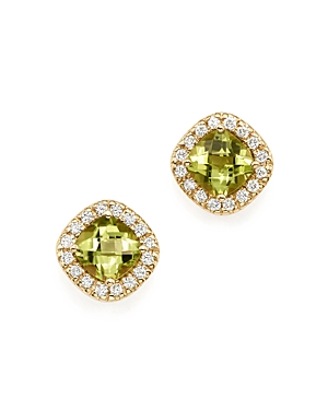 Peridot Cushion Cut and Diamond Stud Earrings in 14K Yellow Gold - 100% Exclusive-Jewelry & Accessories