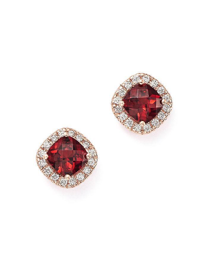 Bloomingdale's - Garnet Cushion and Diamond Stud Earrings in 14K Rose Gold- 100% Exclusive