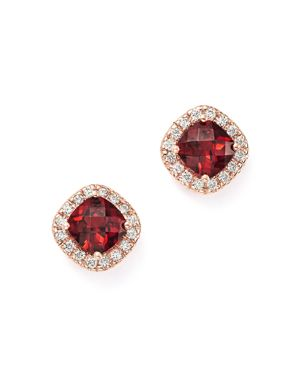 Garnet Cushion Cut and Diamond Stud Earrings in 14K Rose Gold - 100% Exclusive