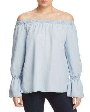 Sanctuary Charlotte Chambray Off-the-Shoulder Top