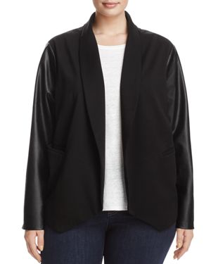 Lysse Plus York Faux Leather Sleeve Knit Blazer