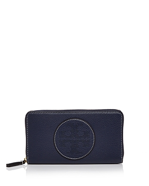Tory Burch Perforated Logo Zip Leather Continental Wallet