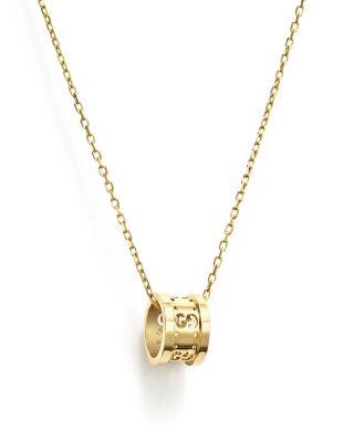 18K Yellow Gold Icon Twirl Pendant Necklace, 16