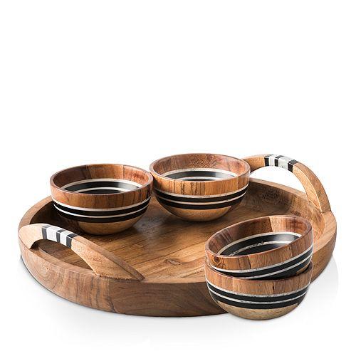 Juliska - Stonewood Stripe 5 Piece Appetizer Set Tray & 4 Bowls