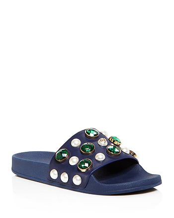 Tory Burch - Women's Vail Embellished Pool Slide Sandals