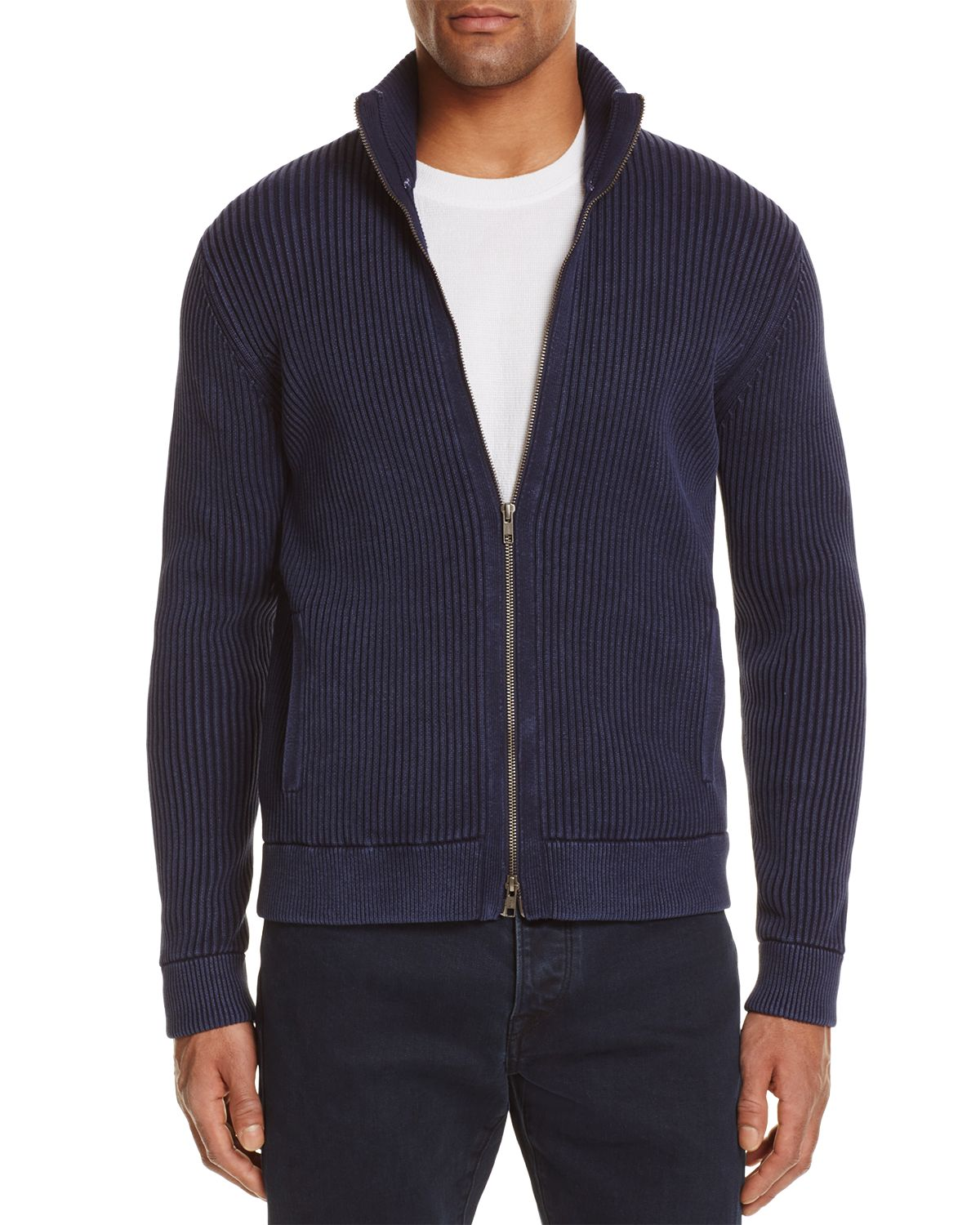 Ribbed Cotton Zip Cardigan Sweater   100 Percents Exclusive by The Men's Store At Bloomingdale's
