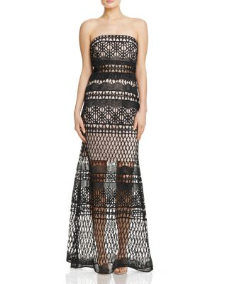 LM COLLECTION STRAPLESS CROCHET LACE GOWN