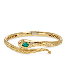 Temple St. Clair 18K Yellow Gold Bella Serpent Bangle with Tsavorite and Diamonds - Bloomingdale's_0