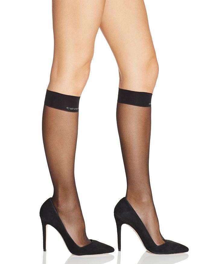 Calvin Klein Matte Ultra Sheer Knee-highs In Black