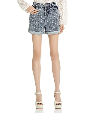 Alice + Olivia Kenda Studded Denim Shorts in Dark Stone Wash