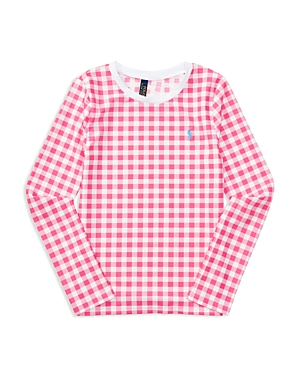 Ralph Lauren Childrenswear Girls' Upf 50+ Gingham Rash Guard - Sizes S-xl