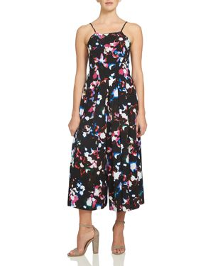 1.state Abstract Floral Pleated Wide Leg Jumpsuit