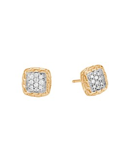 JOHN HARDY - 18K Yellow Gold Classic Chain Pavé Diamond Stud Earrings