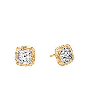 JOHN HARDY - 18K Yellow Gold Classic Chain Pavé Diamond Stud Earrings