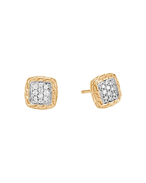 John Hardy 18K Yellow Gold Classic Chain Pave Diamond Stud Earrings