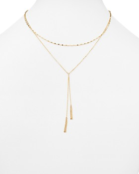 "Bloomingdale's - 14K Yellow Gold Double Chain Tassel Lariat Necklace, 17"" - 100% Exclusive"