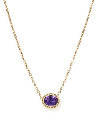 "Amethyst Bezel Pendant Necklace in 14K Yellow Gold, 18"" - 100% Exclusive"